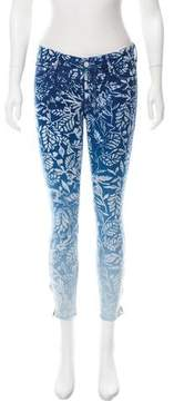 Mother Floral Print Low-Rise Jeans