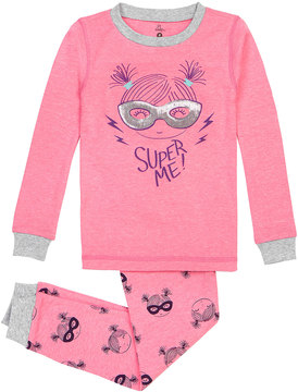 Petit Lem Girl's Super Me Two-Piece Pajama Set, Pink, Size 12-24 Months