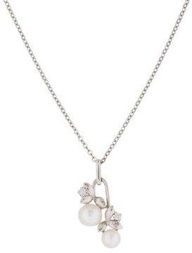 Mikimoto 18K Pearl & Diamond Floral Pendant Necklace