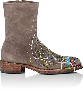 Maison Margiela Men's Paint-Splatter-Detailed Suede Boots