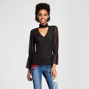 Almost Famous Women's Smocked Choker 3/4 Sleeve Top Juniors')