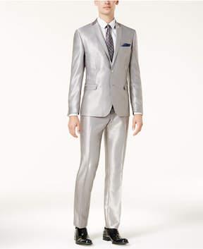 Nick Graham Men's Slim-Fit Solid Silver Suit