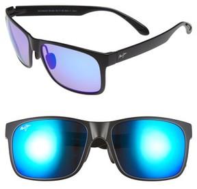 Maui Jim Men's Red Sands Polarized 59Mm Sunglasses - Matte Black/ Blue Hawaii