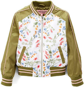 Urban Republic Green & White Floral Bomber Jacket - Infant, Toddler & Girls