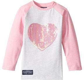 Toobydoo Glitter Heart Baseball Tee Girl's T Shirt