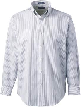 Lands' End Lands'end Men's Big and Tall Long Sleeve Buttondown No Iron Pattern Broadcloth Dress Shirt