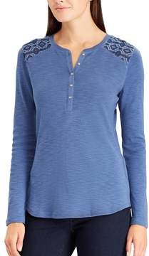 Chaps Women's Embroidered Yoke Henley