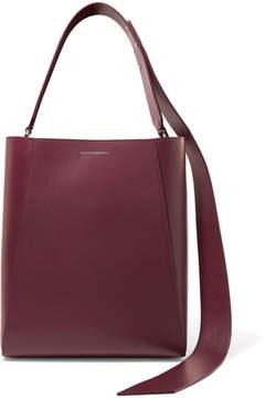 Calvin Klein Buck Stripe Leather Shoulder Bag - Burgundy