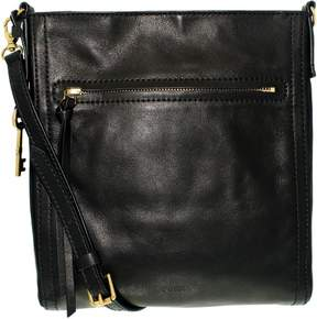 Fossil Women's Emma North South Leather Crossbody Leather Cross Body Bag Satchel - Black