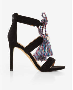 Express bright tassel lace-up heeled sandals
