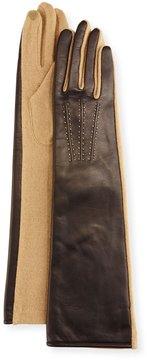 Portolano Leather & Wool-Blend Long Gloves