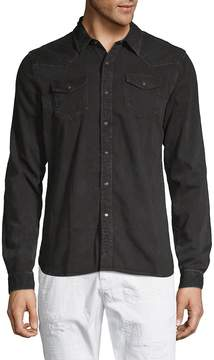 Scotch & Soda Men's Ams Blauw Classic Western Cotton Button-Down Shirt