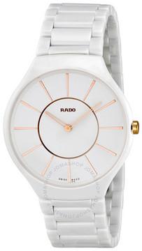Rado True White Dial Ceramic Ladies Watch