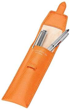 Aspinal of London Small Pen Case In Orange Lizard Cream Suede
