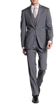 Kenneth Cole Reaction Grey Two Button Notch Lapel 3-Piece Suit