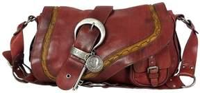 Christian Dior Red Gaucho Leather Shoulder Bag