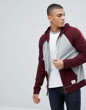 Abercrombie & Fitch Full Zip Hoodie Contrast Sleeve in Burgundy/Gray