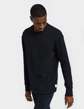 Reigning Champ LS Panel Crewneck Mesh Double Knit in Black