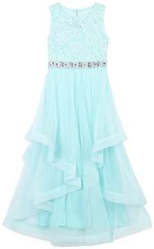 Speechless Girls 7-16 Floral Glitter Lace Bodice Dress