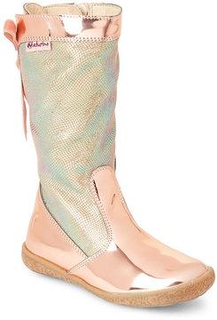 Naturino Toddler/Kids Girls) Pink Metallic Lace-Back Boots