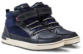 Viking Navy Faux Leather Mid-Top Trainers