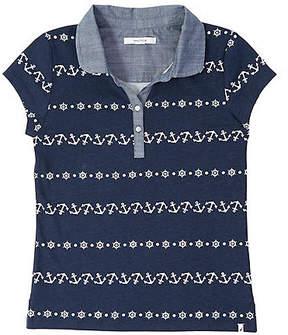 Nautica Girls' Chambray Trim Anchor Polo Shirt (8-16)