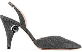 Nicholas Kirkwood Penelope Metallic Mesh Slingback Pumps - Silver