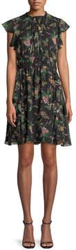 Shoshanna Amora Floral-Print Silk Flutter-Sleeve Mini Dress