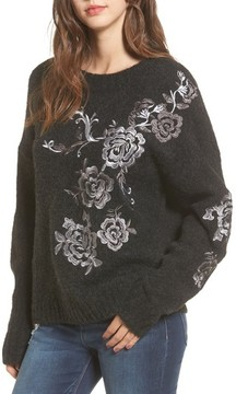 Blank NYC Women's Blanknyc Grey Gardens Embroidered Sweater