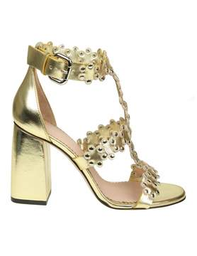 RED Valentino flowers Puzzle Sandal In Golden Leather