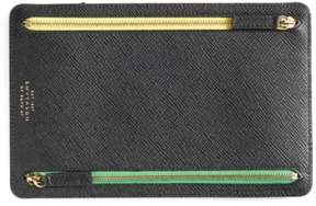 Smythson 'Panama' Zip Currency Case - Black