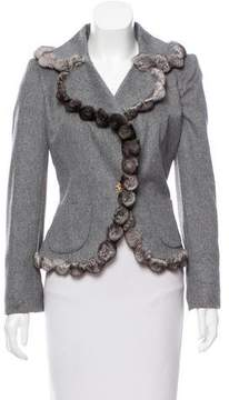 Edward Achour Fur-Trimmed Wool-Blend Jacket