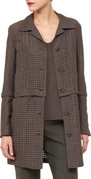 Akris Button-Front Ajouré Silk Cotton Jacket with Detachable Hem