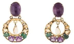 Bounkit Emerald, Amethyst & Citrine Chandelier Clip-On Earrings