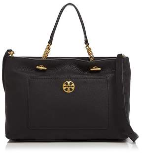 Tory Burch Chelsea Leather Satchel - BLACK/GOLD - STYLE