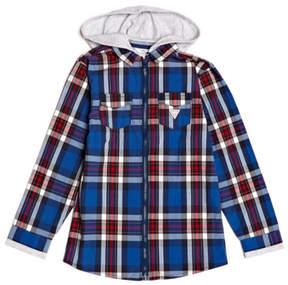 GUESS Plaid Hoodie Shirt (7-18)