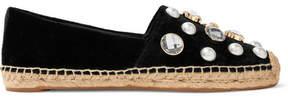 Tory Burch Embellished Velvet Espadrilles - Black