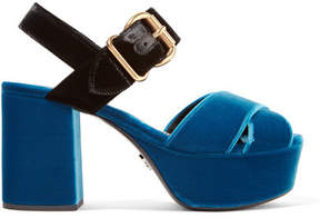 Prada Two-tone Velvet Platform Sandals - Cobalt blue