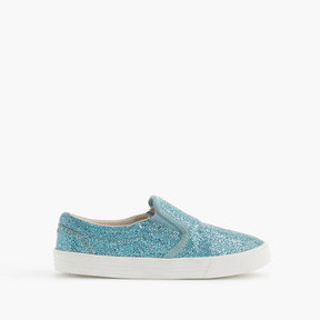 J.Crew Girls' slide sneakers in crosshatch glitter