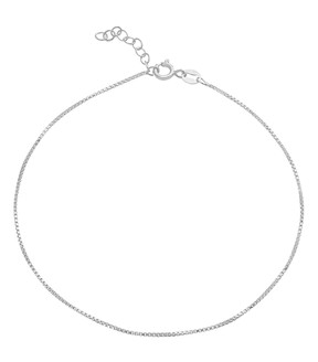 Bliss Sterling Silver Box-Chain Anklet