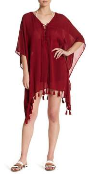 Becca Wanderer Solid Tassel Trim Poncho Cover-Up