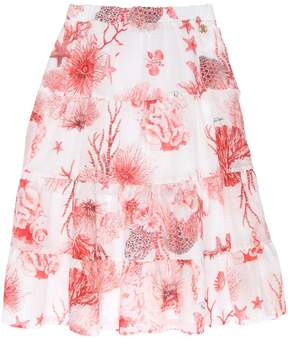 Roberto Cavalli Coral Print Cotton Muslin Maxi Skirt