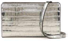Michael Kors Jet Set Travel Metallic Embossed-Leather - Crossbody Clutch - Gunmetal - 32F7MF5C3K-041 - SILVER - STYLE