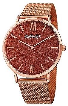 August Steiner Red Sandstone Dial Ladies Rose Gold Tone Mesh Watch