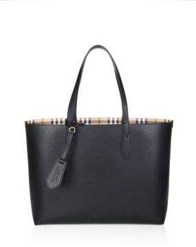 Burberry Medium Reversible Leather & Haymarket Check Tote - BLACK - STYLE