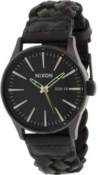 Nixon Sentry Leather Watch - Men's All Black Woven, One Size