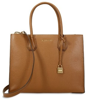 Michael Kors Women's Large Mercer Convertible Leather Top-Handle Bag Tote - Luggage - LUGGAGE - STYLE