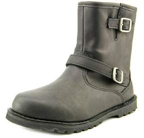 UGG Harwell Youth Round Toe Leather Black Winter Boot.