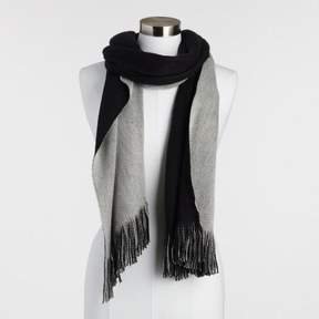 World Market Black and Gray Reversible Knit Scarf