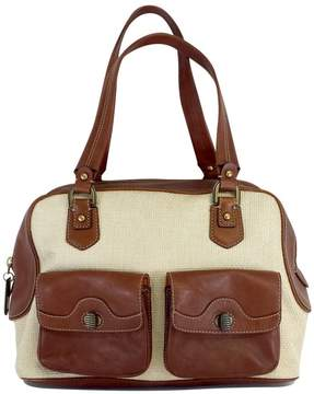 Cole Haan Cream Wicker & Brown Leather Purse